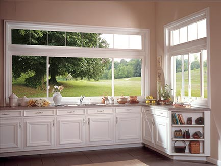 White windows in kitchen.